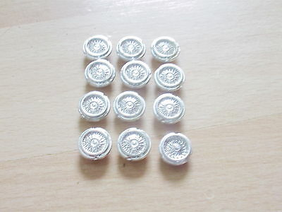 Lot of 12 1/43 scale model car chrome plastic wheels , no tyres  , flanged type