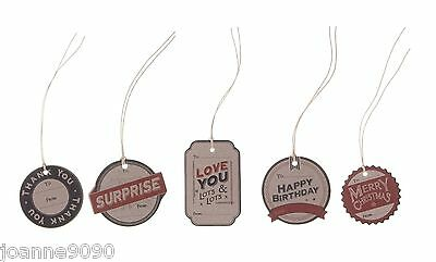 East Of India Set Of 6 Card To From Gift Tags Luggage Tag Retro Slogan Birthday
