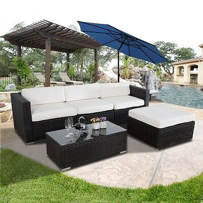 5pc Outdoor Patio Sectional Furniture PE Wicker Rattan Sofa Set Deck Couch Brown