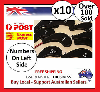 10 x BLACK ZIPPER GOLF IRON COVER HEAD COVERS with NUMBERS ON LEFT SIDE