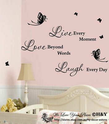 Live Laugh Love Wall Art Quotes Wall Stickers Nursery Kid Wall Decal Mural DIY