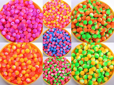 50pcs 40X Matte Neon Frosted ACRYLIC Round  Charms Spacer BEADS Choose 8MM &10MM