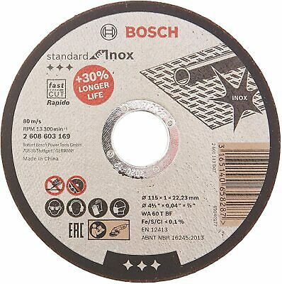"Bosch 115mm (4.5"") x 22.23 x 1mm Thin Metal Inox Fast Cutting Disc -QTY 10 DISCS"
