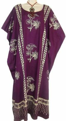 JAVA Cotton Kaftan Ladies Dress Purple Blue Red Gray Beach Long Evening Womens