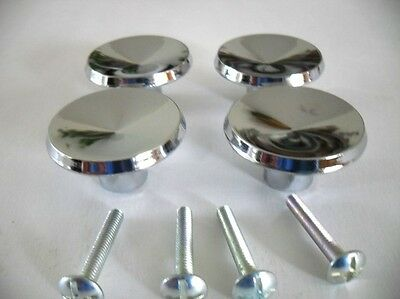 "4 Vintage NOS 1-3/8"" Chrome Drawer Knobs Cabinet Door Pulls Handles Nightstand"