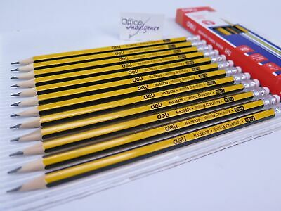 12 x HB Lead Pencils with Eraser Pre-sharpened Hexagonal -Deli 38030