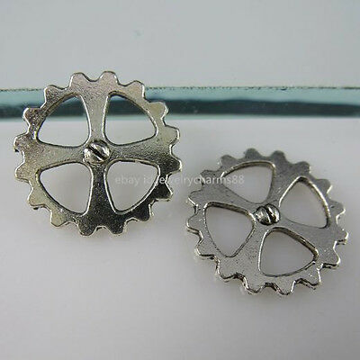 11279 60PC Round Wheel Gear Connector Pendant Jewelry Making Vintage Silver Tone