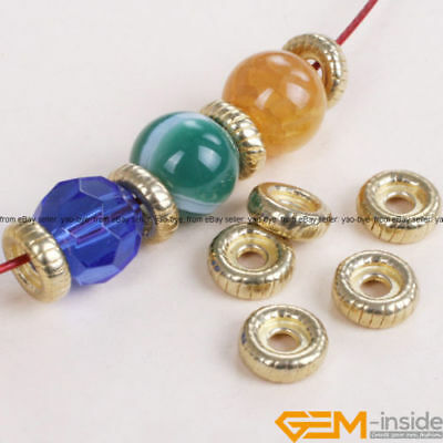 10Pcs Tibetan Silver Rondelle Spacer Beads Gold Plated DIY Craft Findings 3x10mm