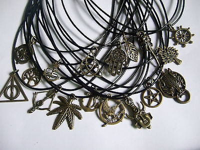 """Black Leather Cord Necklace 18"""" with Vintage Bronze Charm Pendant Pagan Wiccan"""
