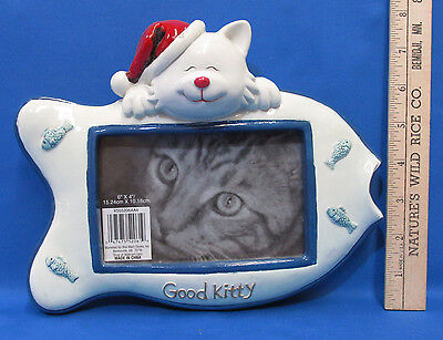 "Good Kitty Picture Photo Frame Santa Hat Christmas Cat Kitten Fish Shaped 6""x4"""