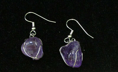 Vintage Silvertone Dangle Pierced Earrings Twisted Metal Amethyst Crystal Jewelr