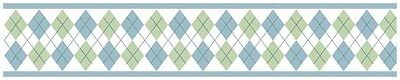 Sweet Jojo Modern Argyle Green Blue Baby Kid Wall Paper Border Room Wallcovering