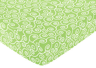 Sweet Jojo Designs Olivia Lime Crib or Toddler Fitted Sheet- Scroll Print Cotton