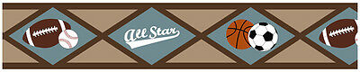 Sweet Jojo Designs All Star Sports Baby Kids Wall Paper Border Room Wallcovering