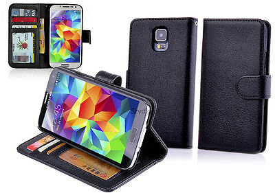 BLACK Wallet Leather Case Cover - Samsung Galaxy S5