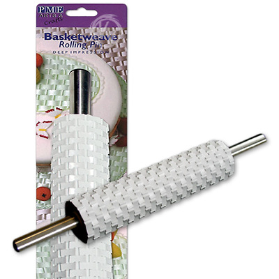 """Basketweave Rolling Pin - Deep Impression 10"""" with handle from PME"""