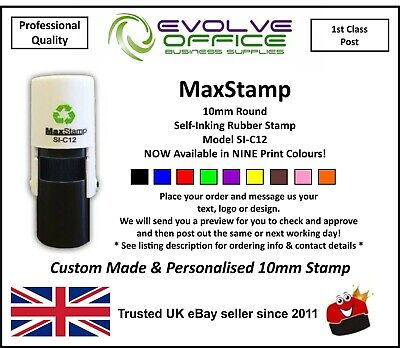 10mm Round Custom Rubber Stamp Self Inking - Personalised with your Logo & Text