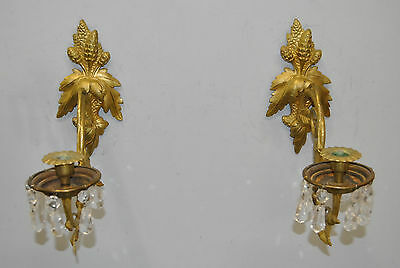 Pair of Vintage French Brass Gold Dore Wall Candle Sconces with Crystals c 1890s