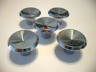 "5 Vintage 1-1/2"" Chrome Drawer Knobs Cabinet Door Pulls Handles Nightstand Ajax"