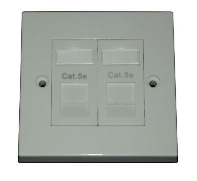 Cat5e RJ45 Double Face Plate :Ethernet Network 2 Port Data Wall Socket Faceplate