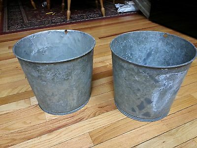 Vintage 2  Maple Syrup OLD LARGE Sap Buckets Original Condition Flower Planters