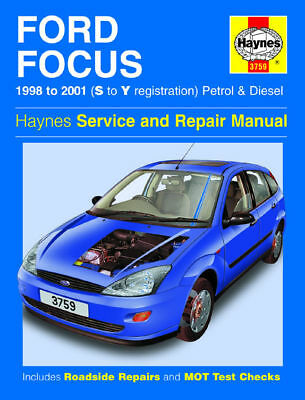 Haynes Manual 3759 Ford Focus 1.4 1.6 1.8 2.0 Zetec Petrol 1.8 Diesel 1998-2001