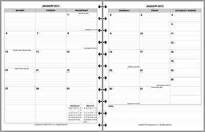 2014-15 Monthly Planner Insert 2 Pages/Month 8.5x11 Levenger Staples Handy Forms