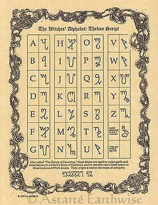 WITCHES ALPHABET POSTER A4 SIZE Wicca Pagan Witch Witch Goth BOOK OF SHADOWS