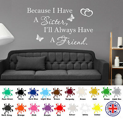 Sister Wall Sticker, Friend Quote, Wall Art Love, Best Friends Present Family
