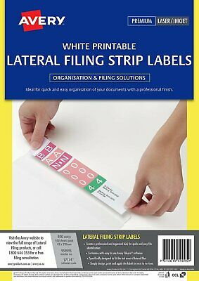WHITE Avery Lateral Filing Laser Auto Labels L7174 4/Sheet 100 Sheets 959095^