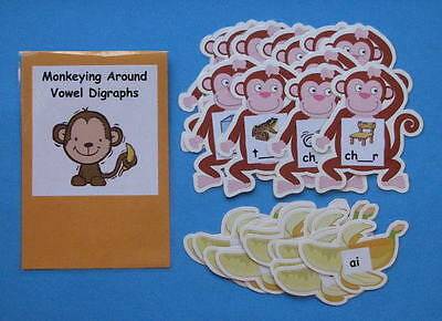 Teacher Made Literacy Center Resource Game Kit Vowel Digraphs