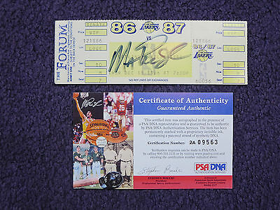 Magic Johnson Los Angeles Lakers signed ticket '86-'87 Auto PSA/DNA 2A09563