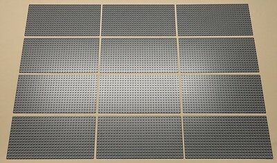 x12 NEW Lego Gray Baseplates BRICK BUILDING Base Plates 16 x 32 Dots BLUISH GRAY