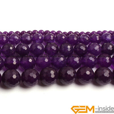 """Purple Jade Gemstone Faceted Round Loose Beads 15"""" 6mm 8mm 10mm 12mm 14mm"""