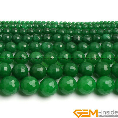 "Green Jade Faceted Round Beads For Jewelry Making 15""6mm 8mm 10mm 12mm 14mm 16mm"