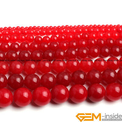 """Red Jade Gemstone Round Beads For Jewelry Making Strand 15""""4mm 6mm 8mm 10mm 12mm"""