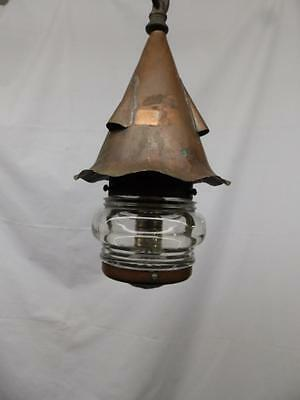 Vintage Arts & Crafts Copper Ceiling Light Fixture Craftsman Glass Globe 3157-14