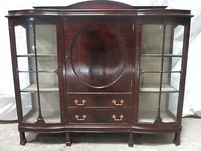 Edwardian Mahogany glazed 2 door display cabinet bookcase cupboard (ref 228)