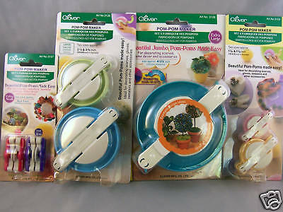 Clover  Pom-Pom Maker Set  4 Packages 7 Sizes XS - XL + Project Sheet