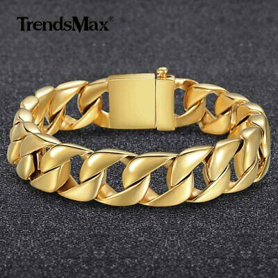 316L Stainless Steel Bracelet Chain Gold Tone Curb Cuban Link Mens Gifts 15mm