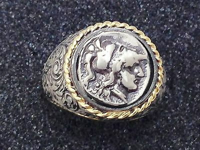 925 Sterling Silver Ring Roman Coin Replica Gold Plated Size 10 US  23 53