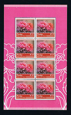 Penrhyn Peony Flowers Stamp Sheetlet and Souvenir Sheet of 2011