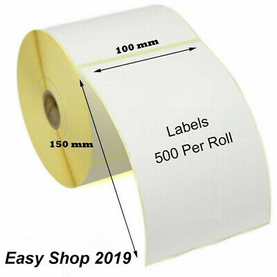 102 X 150mm White Parcel Thermal Direct Zebra GK420D 500 labels Roll 25mm Core