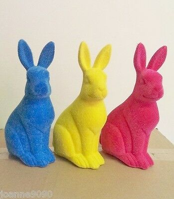 Gisela Graham Small Flocked Bunnies Bunny Rabbit Easter Decoration Ornaments