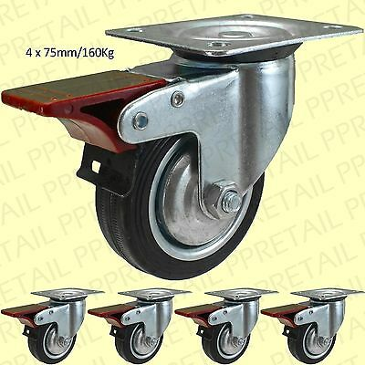 """4x BRAKED RUBBER CASTOR WHEELS 3""""/75mm Small Strong Dolly/Trolley HOLDS 160Kg"""