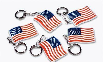 "12 US Flag Keychains 2"" American USA Patriotic Giveaway #AA68 Free Shipping"