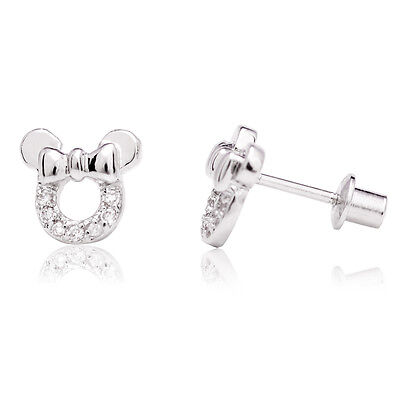 White Gold Filled 18K Clear Crystal Minnie Mouse Bow Screwback Earrings Girl