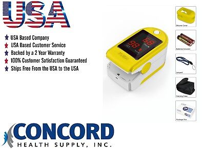 Concord Basics Fingertip Pulse Oximeter-Yellow.  All Free Accessories.