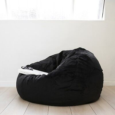 LARGE Black Velvet FUR BEANBAG Cover Soft Cloud Chair Bean Bag Reading Relaxing