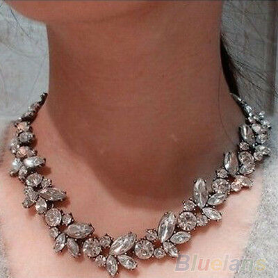 Women Natty Luxury Crowd Clear Rhinestone Flower Bronze Choker Bib Necklace
